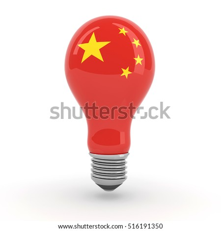 light bulb with Chinese flag, 3d illustration