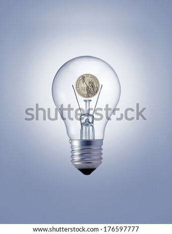 Light bulb with dollar coin
