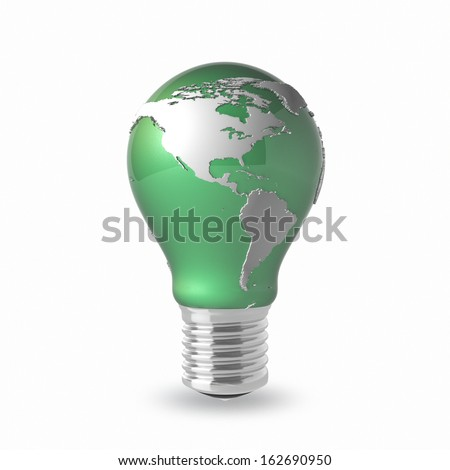 Light Bulb with Earth Globe on a white background