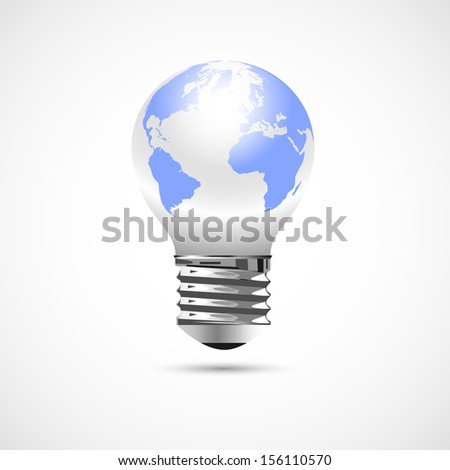 Light Bulb with Earth Globe.Raster version