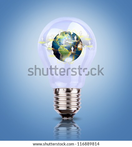 Light Bulb with earth of social network (Elements of this image furnished by NASA)