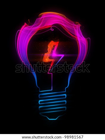 Light bulb with electric sign made up of abstract energy