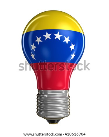 Light bulb with Flag of Venezuela.  Image with clipping path - stock photo