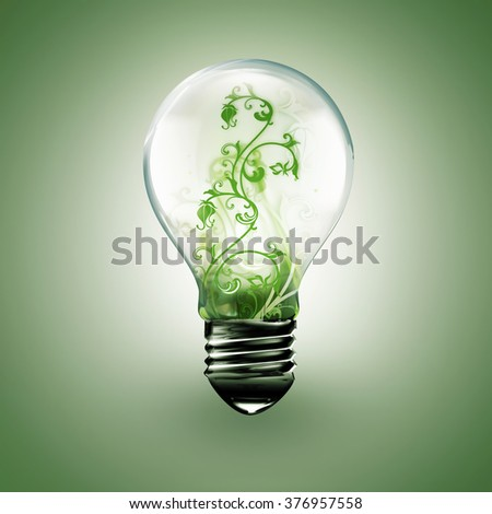 light bulb with floral ornament inside on a light background