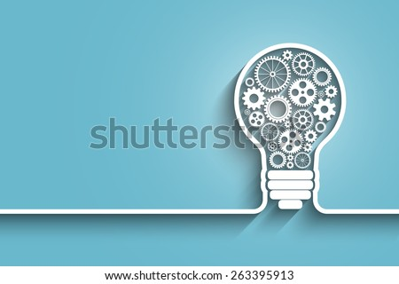 light bulb with gears and cogs working together.