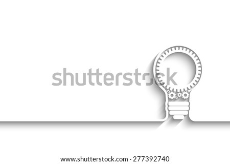 light bulb with gears and cogs working together.  background for your design - stock photo