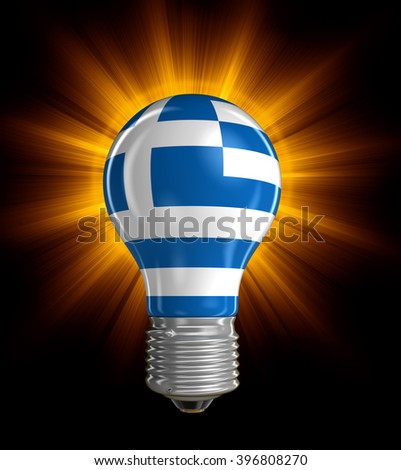 Light bulb with Greek flag.  Image with clipping path - stock photo