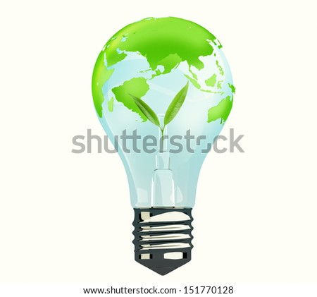 Light Bulb with Green Earth Globe, concept