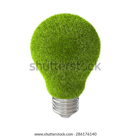 Light bulb with green grass. isolated on white background