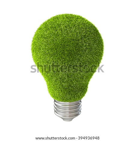 Light bulb with green grass. isolated on white background in the design of information related to eco - stock photo