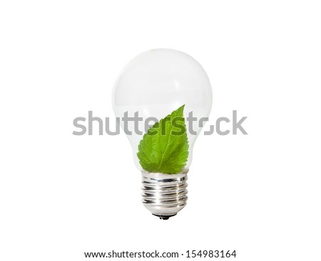 Light Bulb with green leaf inside  - stock photo