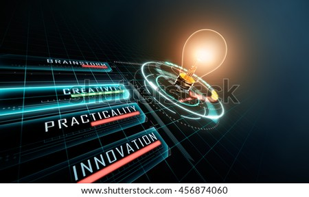 Light Bulb with Head-up Display (HUD) - 3D Rendering