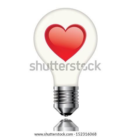 Light bulb with heart on a white background - stock photo