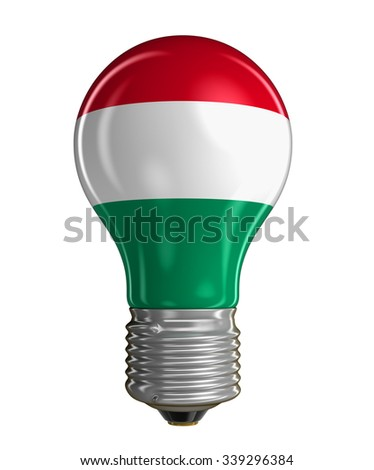 Light bulb with Hungarian flag (clipping path included) - stock photo