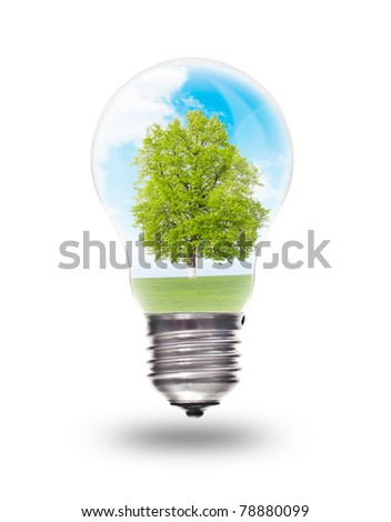 Light bulb with landscape inside isolated on white. Environmental concept Renewable Energy - stock photo