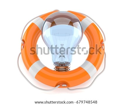 Light bulb with life buoy isolated on white background. 3d illustration