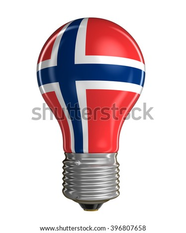 Light bulb with Norwegian flag.  Image with clipping path - stock photo