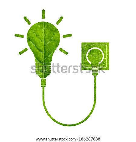 Light bulb with power cable made of green leaf isolated on white background, Green eco energy concept.Earth care concept.  - stock photo