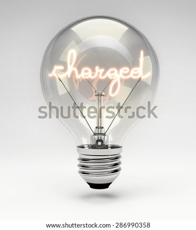 Light Bulb with Realistic Fluorescent Filament -Charged Concept (Set) - stock photo