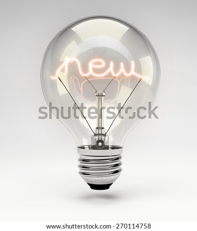 Light Bulb with Realistic Fluorescent Filament - New Concept (Set) - stock photo