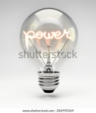 Light Bulb with Realistic Fluorescent Filament - Power Concept (Set) - stock photo