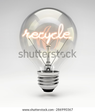 Light Bulb with Realistic Fluorescent Filament - Recycle Concept (Set)