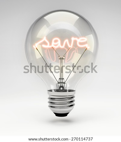 Light Bulb with Realistic Fluorescent Filament - Save Concept (Set)