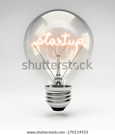 Light Bulb with Realistic Fluorescent Filament - Start Up Concept (Set)
