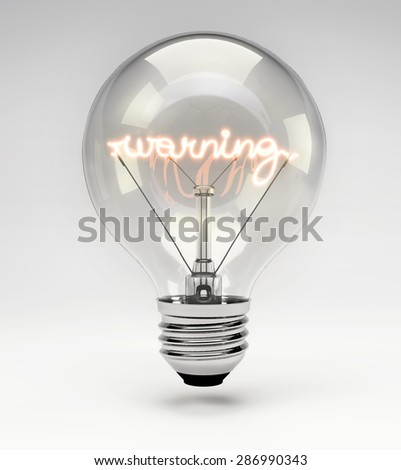 Light Bulb with Realistic Fluorescent Filament - Warning Concept (Set)
