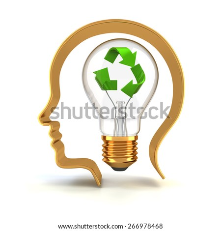 Light bulb with recycling symbol, 3d render - stock photo