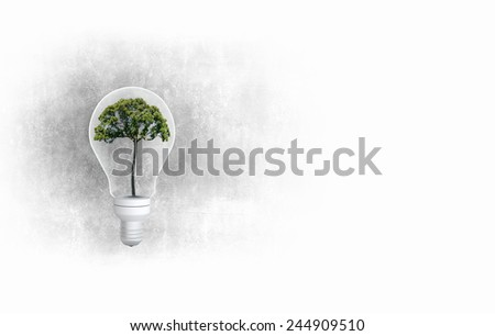 Light bulb with tree inside. Ecology concept