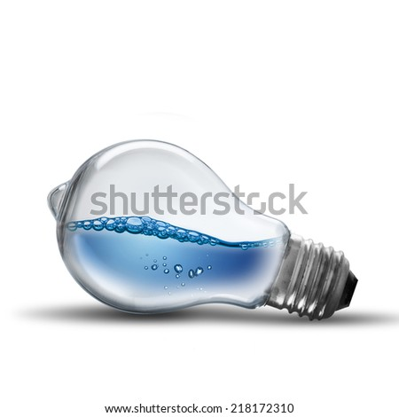Light Bulb With Water Splash to form Leaf on white background - stock photo