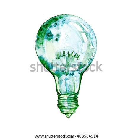 Light bulb with watercolor splashes. Concept or creative thinking and unique ideas.light bulb.Energy saving eco lamp hand drawn, isolated on a white background - stock photo