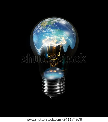 "Light bulb with world inside and global warming isolated on black""Elements of this image furnished by NASA ""  - stock photo"