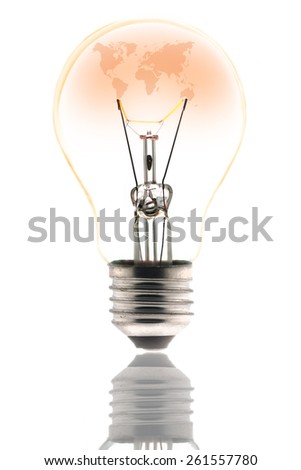 Light bulb, World Map inside tungsten  - stock photo