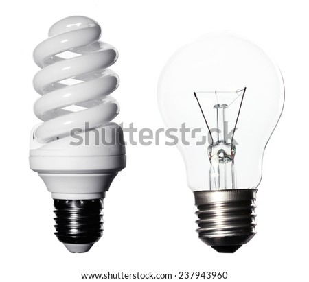 Light bulbs collage isolated on white - stock photo