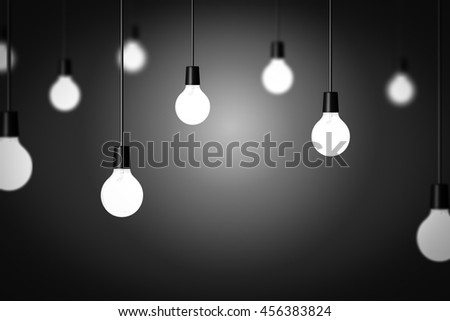 Light bulbs display. Idea, different or unique concept background - stock photo