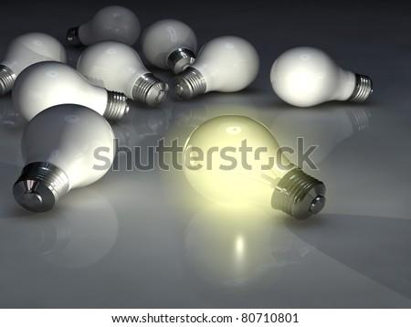 Light bulbs, High-resolution 3d rendering - stock photo