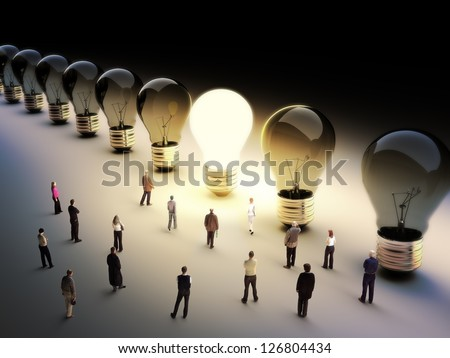 Light bulbs in a row with one being on, large group of people with a few moving to the light.Leading the pack, ingenuity,taking the initiative,standing out from the crowd concept.