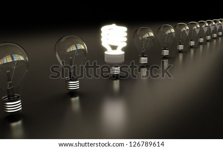 light bulbs on black background - stock photo