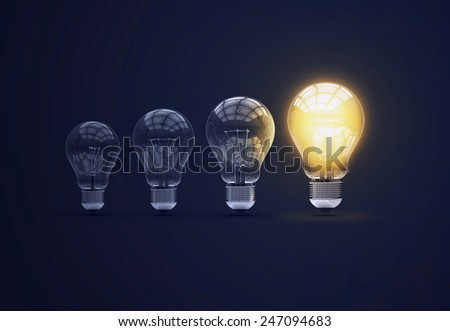 Light bulbs on blue background. 3d photorealistic render. Set of bulbs. Ideea concept.
