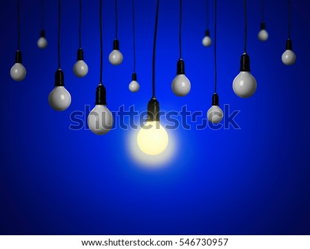 Light bulbs on blue background. Individuality concept