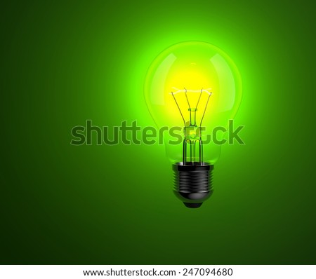 Light bulbs on green background. Idea concept. 3d photorealistic background. - stock photo