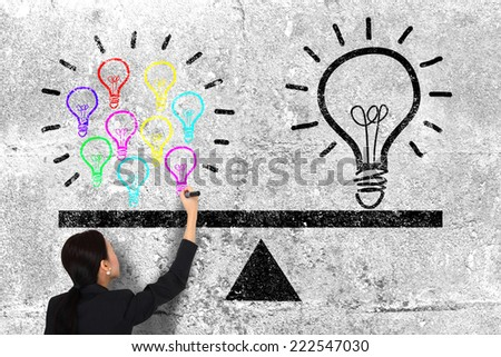 Light Bulbs on Wall - stock photo