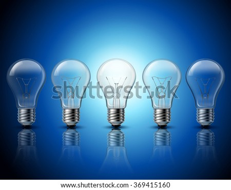 Light bulbs set idea concept banner