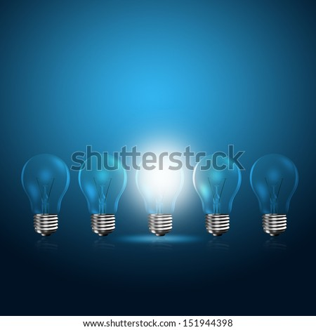 Light bulbs with glowing one