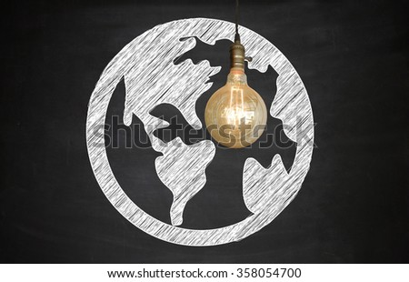Light bulbs world on Blackboard , business concept , business idea