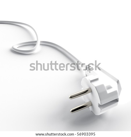 light cable and electric plug on a white background