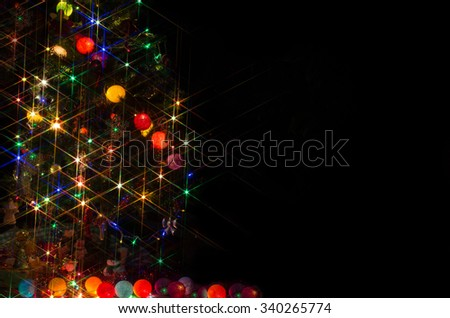LIght, christmas ball, Decoration merry christmas and happy new year/space for greeting text