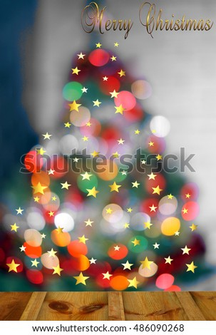light Christmas tree - abstract christmas background with defocused lights